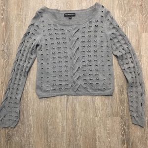 Rock and Republic Cropped sweater gray XS cut out